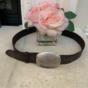 Gap silver buckle brown genuine leather belt 40